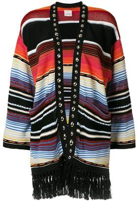 Laneus striped tassel cardigan