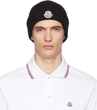 Moncler Black Extra Fine Wool Beanie