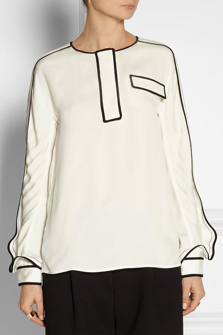 Chloé Textured-satin blouse