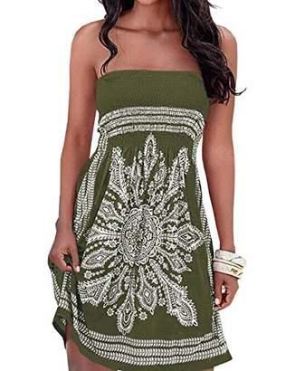 IMAGINE Women's Strapless Floral Print Bohemian Casual Mini Beach Dress(BL,L)