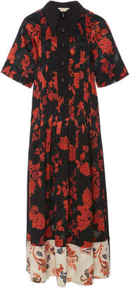 Tory Burch Collared Floral-Print Jacquared Dress