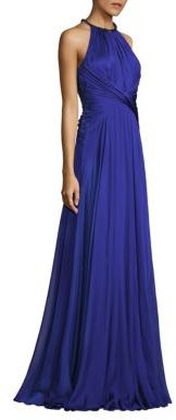 Carmen Marc Valvo Gathered Waist Chiffon Silk Gown $1,195 thestylecure.com