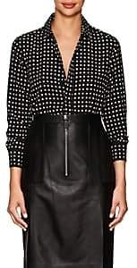 Saint Laurent Women's Star-Print Silk Blouse-Black