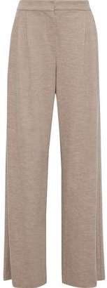 Max Mara Melange Wool And Cotton-blend Jersey Wide-leg Pants