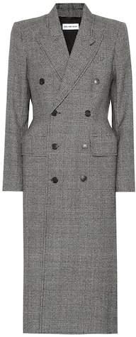 Checked virgin wool coat