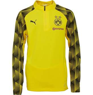 Puma Junior Boys BVB 1/4 Zip Top Cyber Yellow