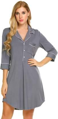 Bifast Women's Summer Pyjamas Comfortable Solid Loose Nightdress