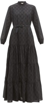 Gucci Gg Broderie Anglaise Cotton Blend Maxi Dress - Womens - Black