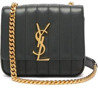 Saint Laurent Vicky Small Leather Bag - Womens - Dark Green
