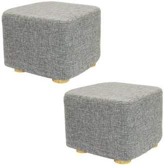 DL furniture - 2 Piece Square Ottoman Foot Stool, 4 Leg Stands, Short Leg, Square Shape | Linen Fabric, Gray