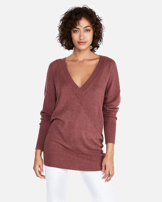 Express Petite Banded Bottom Wrap Front Tunic Sweater