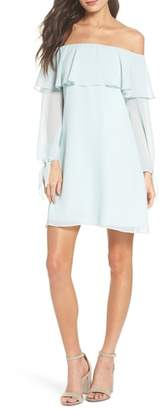 Sam Edelman Off the Shoulder Tie-Cuff Shift Dress
