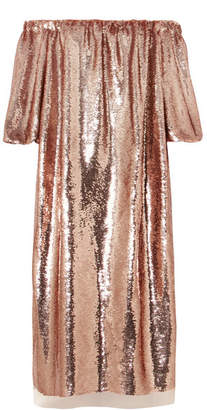 Ulla Johnson Fox Off-the-shoulder Sequined Tulle Midi Dress - Metallic