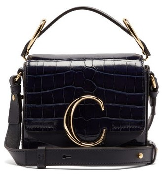 Chloé The C Mini Crocodile Effect Leather Shoulder Bag - Womens - Navy