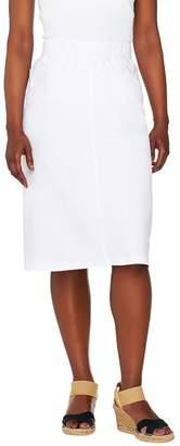Denim & Co. Comfy Knit Denim Pull-On Knee Length Skirt