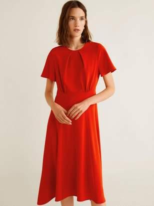 5762fb9f5c5b MANGO Flared Short Sleeve Flowy Midi Dress - Red