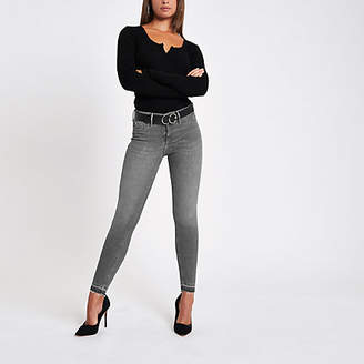 River Island Grey Molly rip hem super skinny jeans