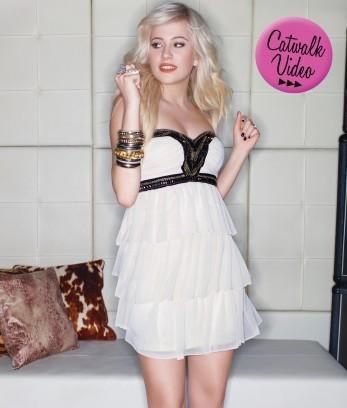Pixie Embellished Bandeau Frill Dress