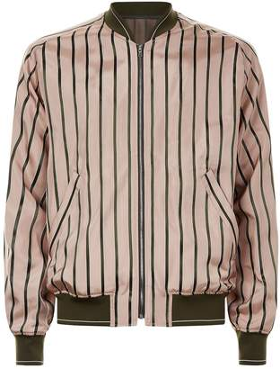 Solid Homme Striped Bomber Jacket