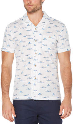 Cubavera Slim Fit Ocean Waves Print Camp Collar Shirt
