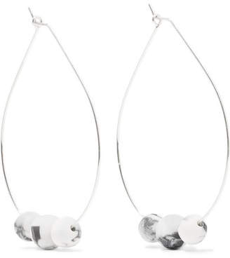 Dinosaur Designs Silver And Resin Hoop Earrings - White
