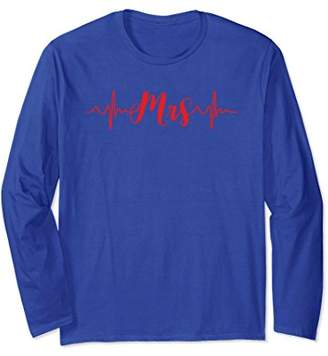 Thin Red Line Heartbeat Mrs Firefighter Wife Long Sleeve Tsh