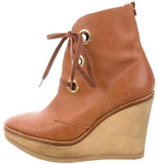Saint LaurentYves Saint Laurent Leather Platform Wedge Ankle Boots