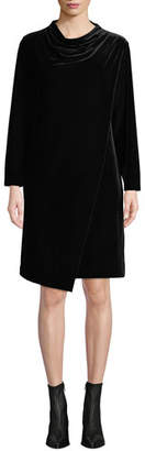 Joan Vass Long-Sleeve Draped-Front Velvet Dress w/ Side Pockets, Petite