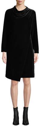 Joan Vass Petite Long-Sleeve Draped-Front Velvet Dress w/ Side Pockets