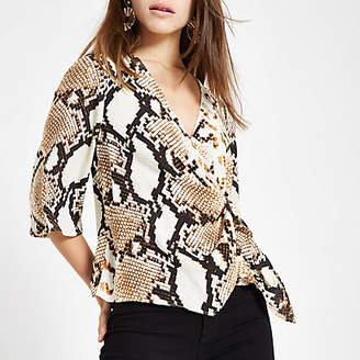 River Island Petite beige snake print wrap buckle blouse