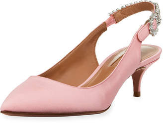 Aquazzura Portrait of Lady Satin Slingback Flat