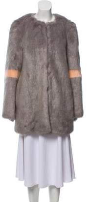 Shrimps Long Sleeve Faux Fur Coat