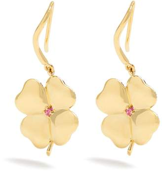 Aurelie Bidermann FINE JEWELLERY Clover sapphire & yellow-gold earrings