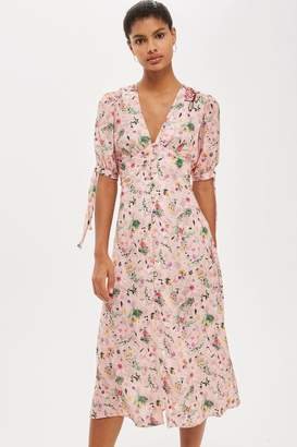 Topshop Floral print embroidered midi dress