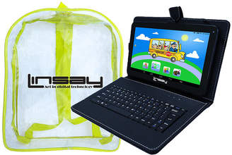 LINSAY New 10.1'' Quad Core 1024x600HD 16GB Android Tablet with Black Leather Keyboard Case and a Kids Bag Pack