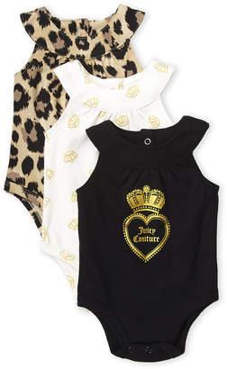Juicy Couture Newborn/Infant Girls) 3-Pack Cheetah Bodysuit Set
