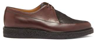 A.P.C. Blair Calf Hair And Leather Derby Shoes - Mens - Brown