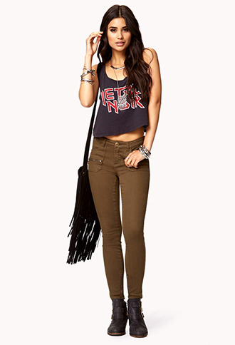 Forever 21 Military Skinny Jeans