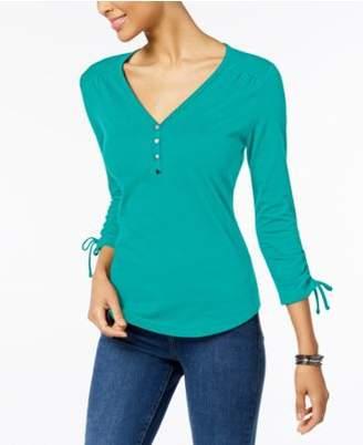 Karen Scott Cotton Henley T-Shirt, Created for Macy's