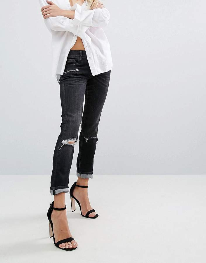 Replay Super Skinny Mid Rise Biker Jeans with Zips and Rips