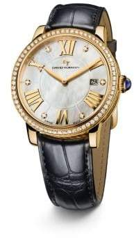 David Yurman Classic 38Mm 18K Gold Quartz Watch With Diamond Bezel