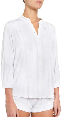 Eberjey Painted Stripe Mandarin-Collar Lounge Top