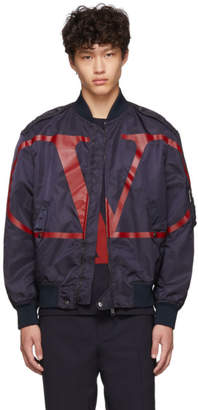 Valentino Navy and Red VLogo Bomber Jacket