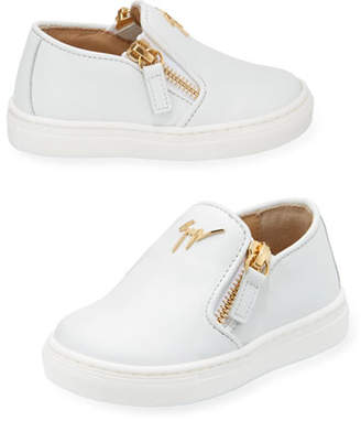 Giuseppe Zanotti Girls' London Laceless Leather Low-Top Sneaker, Toddler/Youth Sizes 9T-2Y