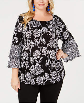 INC International Concepts I.N.C. Plus Size Bell-Sleeve Peasant Top, Created for Macy's