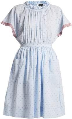 Saloni Dakota seersucker cotton-blend dress