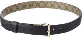 Gucci Gg Supreme & Leather Reversible Belt