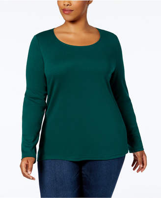 Karen Scott Plus Size Cotton Long-Sleeve T-Shirt, Created for Macys'