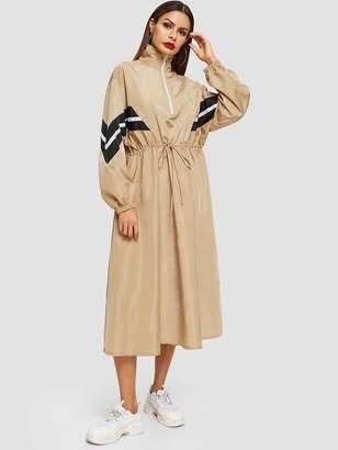 Shein Chevron Tape Drawstring Waist Windbreaker Dress
