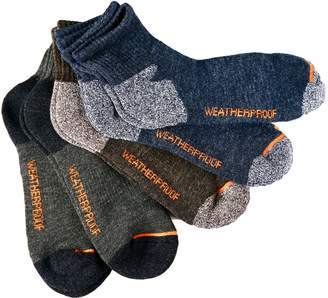 Weatherproof Outdoor Trail Quarter Socks, Fits 6-12 Blue/Black/Gray, 5 Pairs